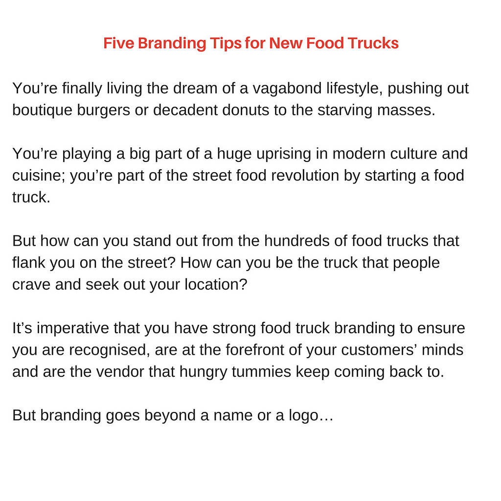 copywriting services food writing