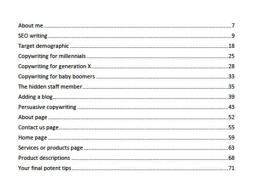 copywriting book contents