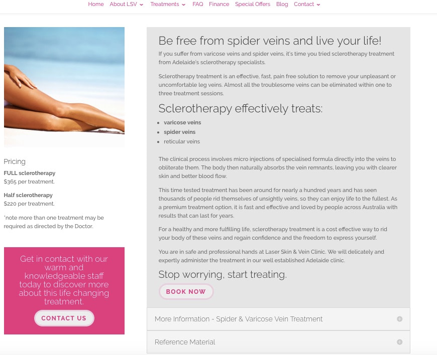 copywriting services laser skin and vein