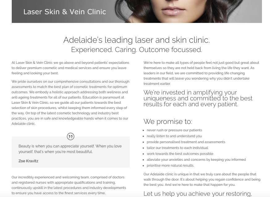 copywriting services skin clinic